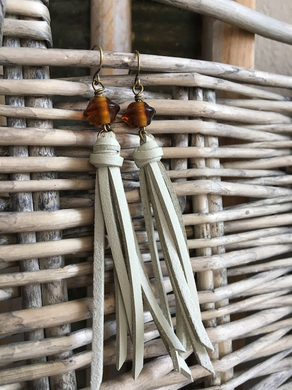 Tassel Earrings - Long Linear Faux Leather Tassels with Vintage Glass Bead - Earthy Beige and Amber on Antique Gold