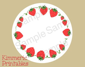 "2-1/2"" Digital Canning Labels, Stickers Hang Tags,Gift Tags, Strawberries Downloadable JPG"