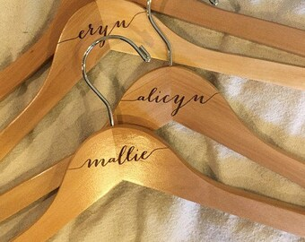 SALE! Bride hanger - Bridesmaid hangers Engraved Wooden hanger - Calligraphy engraved wood.Hangers.