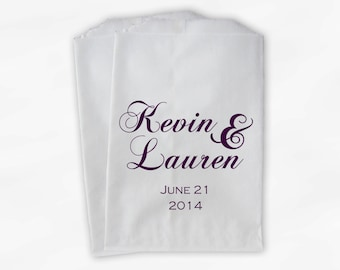 Personalized Wedding Candy Buffet Treat Bags in Red Violet - Favor Bags with Couple's Names and Wedding Date - Custom Paper Bags (0040)