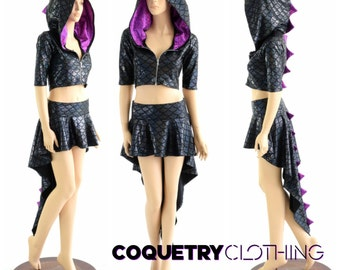 2PC Black Dragon Zipper Front Half Sleeve Crop Hoodie with Purple Fish Scale Spikes & Hood Liner and Matching Dragon Tail Skirt 152882