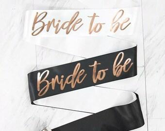 Bride To Be Rose Gold Foil Sash | Bridal Party Sash | Bachelorette Party Sash | Hen Party