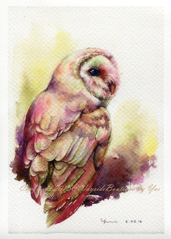 """PRINT – The Owl Watercolor painting 7.5 x 11"""""""