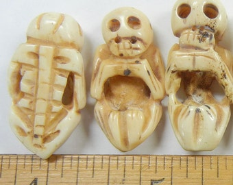 30x16x8mm hand carved full skelaton, bone beads, one piece,  (CBB-13)
