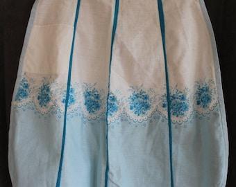 Floral Apron, Vintage Apron, Blue Apron, Half Apron, Fancy Apron, Bridal Shower Gift, Bridal Gift, Size S, Size M, 1950s, Hostess Gift