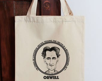 George Orwell Tote Bookclub Tote Library Bag Bookworm Gift Book Lovers Tote 1984 Book Nerd Big Brother Author Bag Literature Tote Orwellian