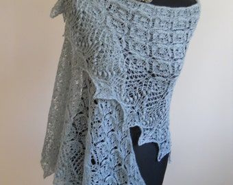 hand knitted lace shawl SILK BABY ALPACA