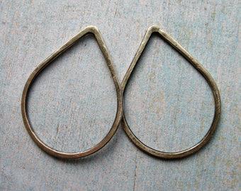 30mm Antiqued Sterling Silver Teardrop Hoop Findings - 1 pair