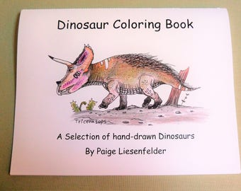 Limited Edition Hand-Drawn Coloring Book featuring realistic dinosaur sketches