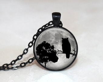 Owl Necklace Glass Tile Necklace Owl Jewelry Glass Tile Jewelry Bird Jewelry Tree Jewelry Tree Necklace Black Jewelry Bird Necklace