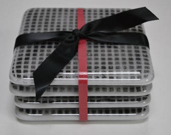 Black and White Pattern Fused Glass Coaster Set