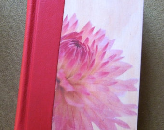 Journal. oLeather and wood journal . Red Warthog leather covered blank journal with flower cover