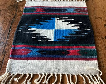 Vintage South American Handwoven Wool Table Runner or Wall Tapestry, Traditional Design, Bright and Muted Colors