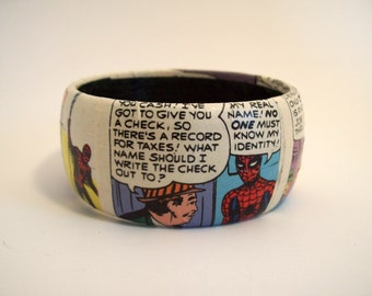 Spiderman comic bracelet - Comic art, geek girl jewelry, wearable art, comic jewelry, decoupage, Peter Parker, superhero