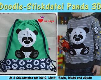 Doodle-Motif Panda Bear 3d-for the 10x10 frame