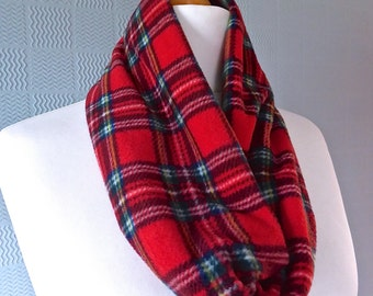Red tartan snood, red tartan cowl, red plaid loop scarf, Royal Stewart Tartan