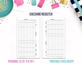 Personal: Checking Register • Budget Binder Printable Page Insert for Personal sized Discbound or Ringbound Agendas, Organizers or Planners