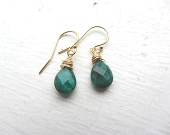Emerald 14k Gold Earrings, Emerald Earrings, 14k Gold Earrings, Gemini Birthday, May Birthday Gift, Mothers Day,
