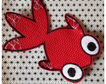 Crest Patch applies red Japanese fish large size