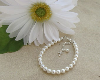 First Communion Bracelet, First Communion Jewelry, Religious Gift, Girls Pearl Bracelet, First Communion Gift, Confirmation Gift