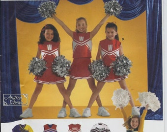 Little girl's Cheerleading outfits pattern with sleeve, neckline and skirt variations in sizes 2-6 Simplicity 4040 UNCUT & FF (2006)  K0665