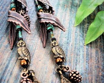 Owl Feather Earrings,Woodland Earrings,Woodland,Feather Earrings,Elven Earrings,Tribal feather cuff,Boho,Festival Jewelry, Hippie Gypsy