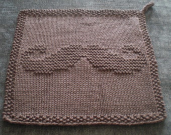 Moustache Flannel / Washcloth Knitting Pattern