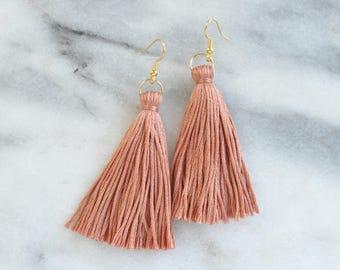 Blush Tassel Earrings, Tassel Earrings, Dangle Earrings, Bohemian Earrings, Long Tassel Earrings, Bridesmaid Gift, Dark Blush Tassel