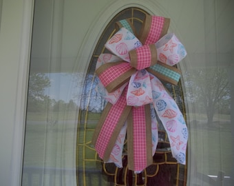 Summer Seashells Beach Bow for Door Lantern Post Wreath