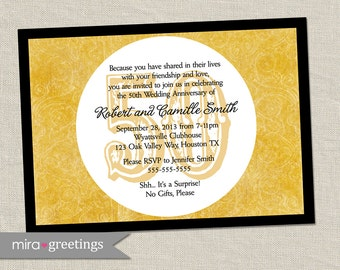 50th anniversary invitation - Golden gold anniversary wedding party invite (Printable Digital File)