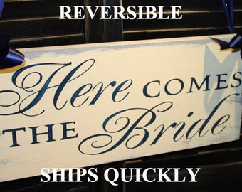 Here Comes the BRIDE Sign/Reversable/Photo Prop/U Choose Color/Great Shower Gift/Navy/Gray/Ivory/Rustic/Wood Sign/Wedding Sign/Fast Shipping