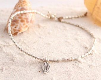 Hill Tribe Silver, Silver Anklet, Hill Tribe,  Hill Tribe jewelry, Silver leaf charm, Leaf charm, ankle bracelet silver, womens anklet,