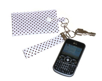 Phone or iPod Sleeve Wristlet, Fabric  Keychain Phone Purse, Polka Dot Pouch, Phone Accessories, Gift For Girls or Women