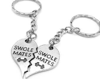 Gym Buddy Swole Mates Keychain Set - Friendship Key Chain - Swoll Mates - Swole Mates - Gym Accessories - Workout Buddies - Gym Gift