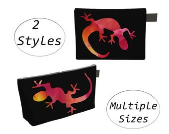 Animal Lizard Pouch, Carry All, Zippered Clutch, Big Large, For Makeup Cosmetics Toiletry Laptops Tablet, Diapers Travel Carryall, Black Red