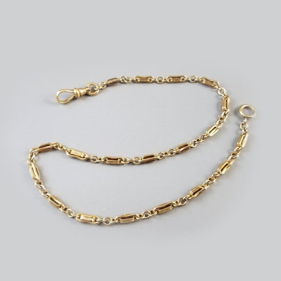 Vintage Art Deco gold filled link pocket watch chain, signed Simmons, small bracelet length, 13.5 inch