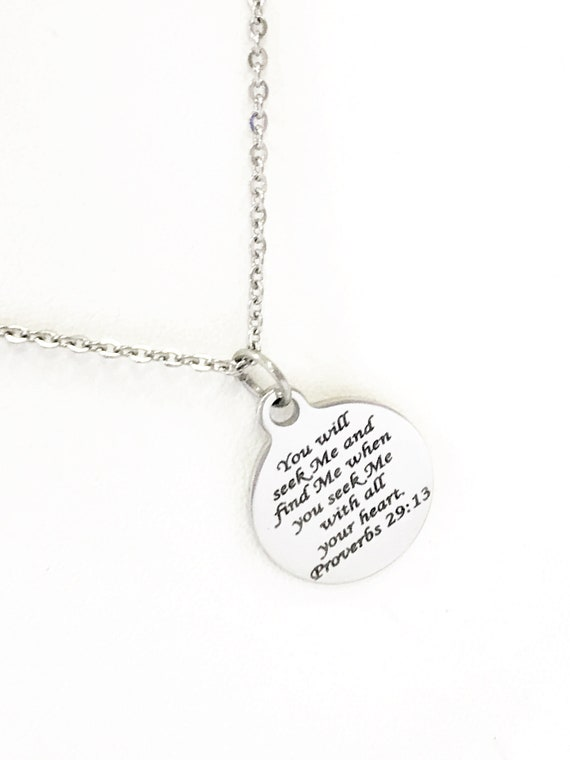 Bible Verse Jewelry, Christian Jewelry, You Will Seek Me And Find Me, Bible Verse Gift, Proverbs 29 13, Bible Verse Necklace, Christian Gift