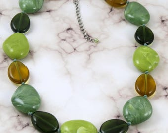 Green and amber large beads necklace, Vintage green knotted necklace, Saint Patrick gift idea