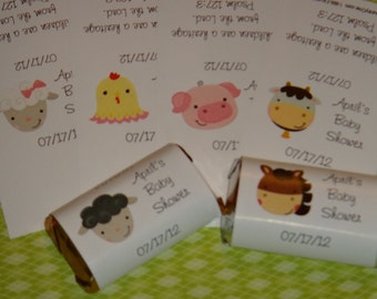 Super Cute Farm Animals Cow Lamb Horse Baby Chick Pig Sheep Baby Shower Candy Bar Wrappers Minis Party Favors