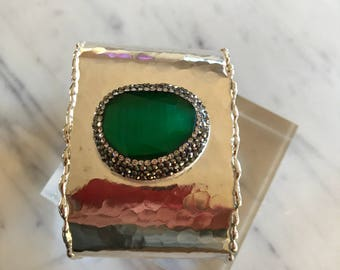 Gold Emerald cuff bracelet