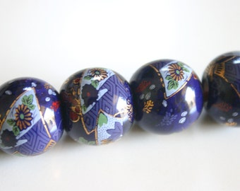 Ao Nostalgia - VINTAGE Hand Painted Ceramic Japanese Beads (2) 20mm
