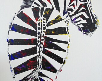 Sassy Zebra, Set of 4 Blank Note Cards, 4.25x5.5 inches