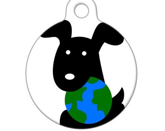 Pet Id Tag - EARTH DAY Pup, Pet Tag, Dog Tag, Luggage Tag, Child ID Tag