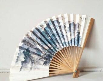 Vintage Chinese Fan Paper CAAC Souvenir Fan
