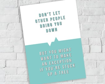 Birthday card, thinking of you, funny card, typography, type only card