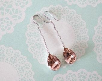 Padma - Silver Vintage Rose Pink Swarovski Crystal Teardrop Wedding Earrings Bridesmaid Earrings Bridal Jewelry Wedding with Cubic Zirconia