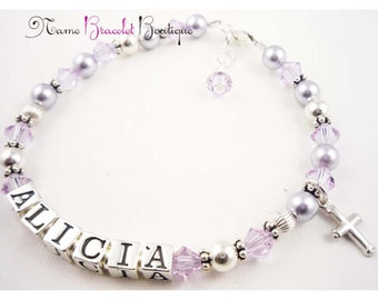 First Communion Bracelet- Baptism Bracelet - lavender violet purple - cross sterling charm- girls and baby- personalized name