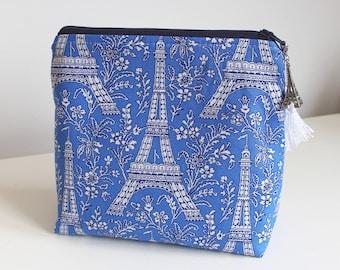 Eiffel Tower Blue Makeup Case Cosmetic Bag