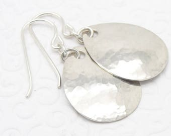Small Hammered Teardrop Earring in Sterling Silver and 1-1/4 Inch Long Size