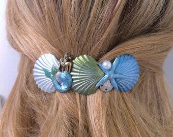 Hair Barrette, Seashells and Mermaid